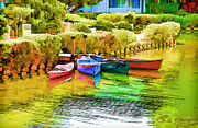 Staley Art Photo Prints - Venice Canoes Print by Chuck Staley