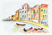 Residential Structure Painting Framed Prints - Venice concept Framed Print by Irina Gromovaja