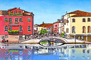Beach Prints Pastels Prints - Venice Cross Bridge Print by David Linton