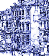 Pen And Ink Framed Prints Posters - Venice detail in blue Poster by Lee-Ann Adendorff