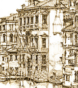 Pen And Ink Framed Prints Prints - Venice details in sepia  Print by Lee-Ann Adendorff