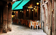 Outdoor Cafe Photo Prints - Venice Dining Options Print by John Rizzuto