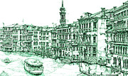 City Buildings Drawings Posters - Venice drawing in green Poster by Lee-Ann Adendorff
