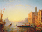 Venetian Architecture Paintings - Venice Evening by Felix Ziem