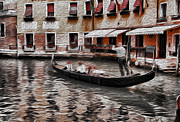 Gondolier Digital Art Framed Prints - Venice Gondola Painting Framed Print by Greg Sharpe