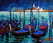 Venice Gondolas And San Giorgio Maggiore Print by MONA EDULESCO - Emona Art