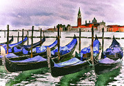 Gondolier Prints - Venice Gondolas Parking Print by Yury Malkov