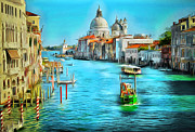 Gondolier Digital Art Framed Prints - Venice Grand Canal Framed Print by Yury Malkov