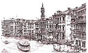 Canals Drawings Framed Prints - Venice in pen and ink Framed Print by Lee-Ann Adendorff