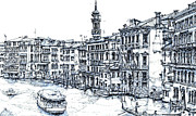 Skyline Drawings Posters - Venice ink in blue Poster by Lee-Ann Adendorff