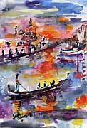 Ginette Fine Art LLC Ginette Callaway - Venice Italy Gondolas Grand Canal Watercolor
