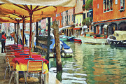 Gondolier Digital Art Framed Prints - Venice Murano Framed Print by Yury Malkov