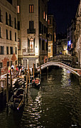 Gondolier Prints - Venice Night by the Canal Print by Madeline Ellis