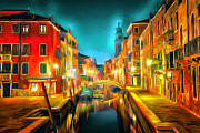 Gondolier Framed Prints - Venice Nights Framed Print by Yury Malkov