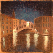 Bridge Framed Prints Pastels Framed Prints - Venice Reflections Framed Print by Logan Marlatt Gerlock