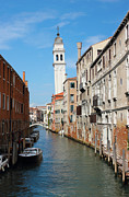 Leaning Building Photos - Venice San Giorgio dei Greci Belltower by Kiril Stanchev