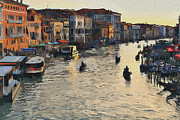 Gondolier Framed Prints - Venice sunset Framed Print by Yury Malkov