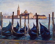 Isola Di Paintings - Venice Through the Gondolas Italy Painting by Quin Sweetman