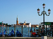 Watercolor Map Photos - Venice View on Basilica di San Giorgio Maggiore by Irina Sztukowski