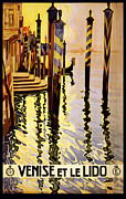Italian Sunset Digital Art Posters - Venise et le Lido Poster by Nomad Art And  Design