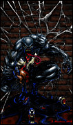 Spiderman Digital Art Prints - Venom Print by Jeff Stephens