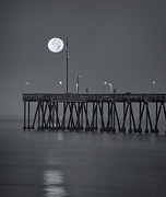 Moonlit Art - Ventura CA Pier Moonset by John Rodriguez