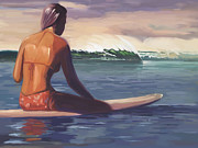 Surfer Girl Paintings - Ventura Surfer Girl by Tim Gilliland