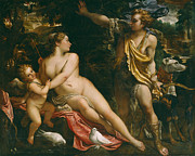 Famous Artists - Venus Adonis and Cupid by Annibale Carracci
