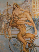 Cyclists Paintings - Venus and Adonis cycling under Eros by Peregrine Roskilly