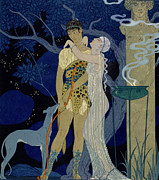 Sculpture Painting Framed Prints - Venus and Adonis  Framed Print by Georges Barbier