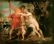 Rubens Painting Prints - Venus and Adonis Print by Peter Paul Rubens