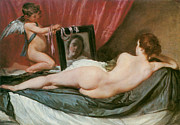 Reclinging Framed Prints - Venus at Her Mirror Framed Print by Diego Valezquez