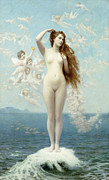 Blonde Framed Prints - Venus Rising The Star Framed Print by Jean Leon Gerome