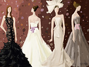 Fashion Art Prints Paintings - Vera Wang Bridal Dresses Fashion Illustration Art Print by Beverly Brown Prints