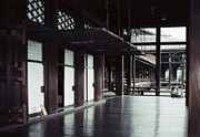 Screen Doors Framed Prints - VERANDA of HIGASHI HONGAN-JI TEMPLE - KYOTO Framed Print by Daniel Hagerman
