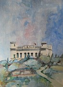 Plein Air Drawings - Verdala from Buskett Garden by Ray Agius