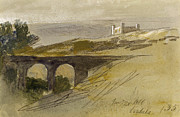 Landscapes Drawings - Verdala Malta by Edward Lear