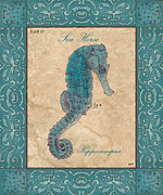 Seahorse Paintings - Verde Mare 3 by Debbie DeWitt