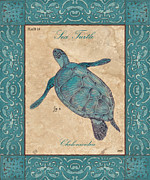 Green Turtle Framed Prints - Verde Mare 4 Framed Print by Debbie DeWitt