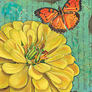 Yellow Flowers Prints - Verdigris Floral 2 Print by Debbie DeWitt