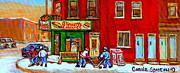 Verdun Winter Scenes Prints - Verdun Art Winter Street Scenes Pierrette Patates Resto Hockey Painting Verdun Montreal Memories Print by Carole Spandau