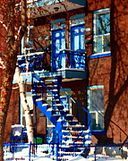 Montreal Memories. Posters - Verdun Duplex Stairs With Birch Tree Montreal Winding Staircases Winter City Scene Carole Spandau Poster by Carole Spandau