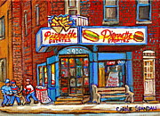 Fries Painting Framed Prints - Verdun Famous Restaurant Pierrette Patates - Street Hockey Game At 3900 Rue Verdun - Carole Spandau Framed Print by Carole Spandau