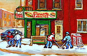 Hockey Paintings - Verdun Hockey Game Corner Landmark Restaurant Depanneur Pierrette Patate Winter Montreal City Scen by Carole Spandau