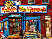 Hockey Paintings - Verdun Restaurants Pierrette Patates Pizza Poutine Pepsi Cola Corner Cafe Depanneur - Montreal Scene by Carole Spandau