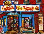 Verdun Restaurants Pierrette Patates Pizza Poutine Pepsi Cola Corner Cafe Depanneur - Montreal Scene Print by Carole Spandau