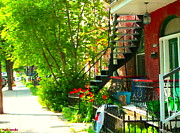 Montreal Memories. Art - Verdun Stairs Red Flowers On Winding Staircase Tall Shade Tree Montreal Summer Scenes Carole Spandau by Carole Spandau