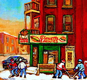 Hockey Painting Prints - Verdun Street Hockey Pierrettes Restaurant Rue 3900 Verdun -landmark Montreal Hockey Art Work Scenes Print by Carole Spandau