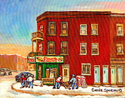 Hockey Paintings - Verdun Winter Scenes-pierrette Patates Deli - Verdun Hockey Art By Carole Spandau by Carole Spandau
