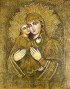 Christ Child Mixed Media Posters - Vergin Mary with child Christ Poster by Elena Markina